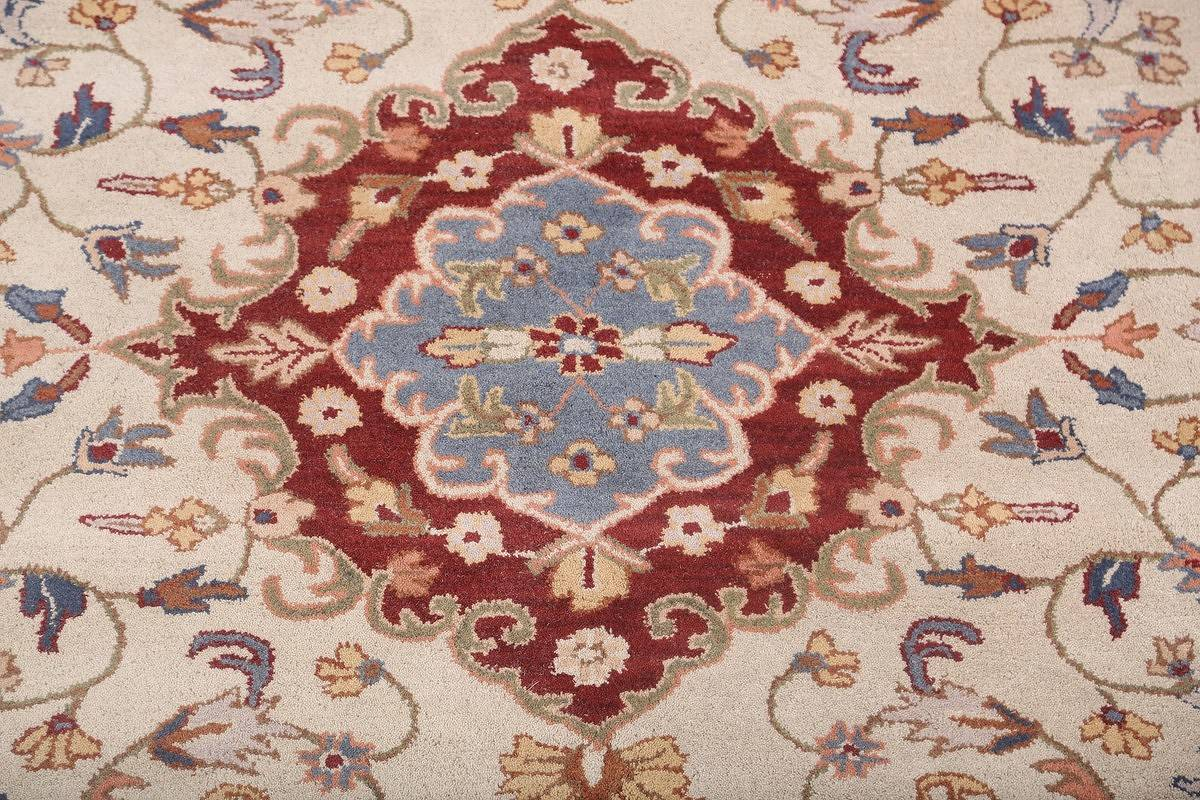 Traditional Style Ivory/Rust Tabriz Oriental Hand-Tufted 8x11 Wool Area Rug