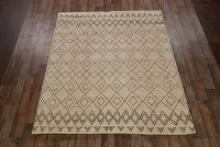 Geometric Moroccan Trellis Oriental Hand-Knotted Beige 8x10 Wool Area Rug