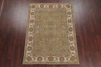 Floral Green Agra Indian Oriental Hand-Tufted 5x7 Wool Area Rug
