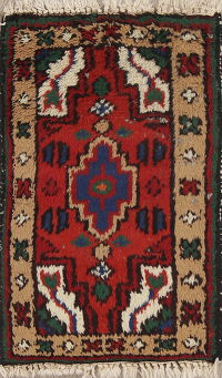 Geometric Oriental Hand-Knotted 1x2 Wool Rug