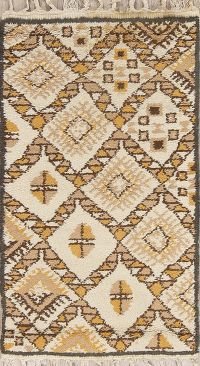 Geometric Moroccan Oriental Hand-Knotted 3x5 Wool Rug