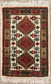 Tribal Geometric Gharajeh Indian Oriental Hand-Knotted 2x3 Wool Rug