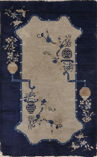 Antique Floral Art Deco Chinese Oriental Hand-Knotted 3x5 Wool Rug