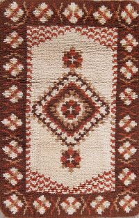 Geometric Rya Sweden Oriental Hand-Knotted 2x3 Wool Rug