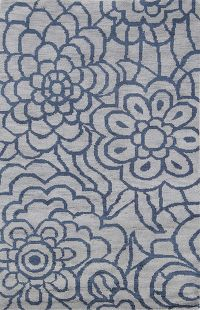 Grey Blue Floral Hand-Knotted Indian Oriental Area Rug 5x7