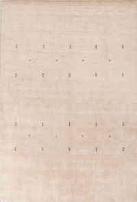 Beige Gabbeh Indian Oriental Hand-Knotted 8x11 Wool Area Rug