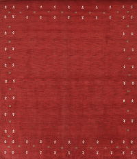 Modern Red Gabbeh Indian Oriental Hand-Knotted 9x12 Wool Area Rug