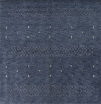 Navy Blue Gabbeh Oriental Hand-Knotted 8x8 Square Wool Rug