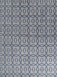 Geometric Moroccan Trellis Oriental Hand-Knotted Blue Area Rug 10x14