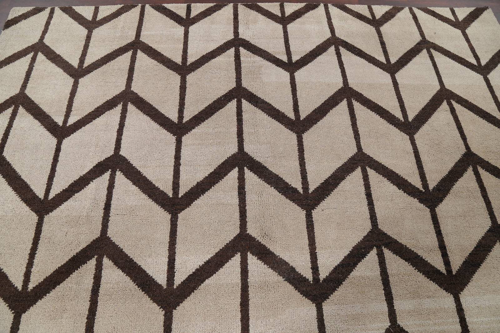 Geometric Trellis Moroccan Oriental Hand-Knotted Wool Ivory Area Rug