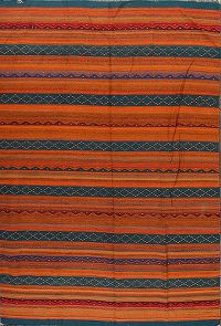 Orange Stripe Kilim Turkish Oriental Area Rug 6x9