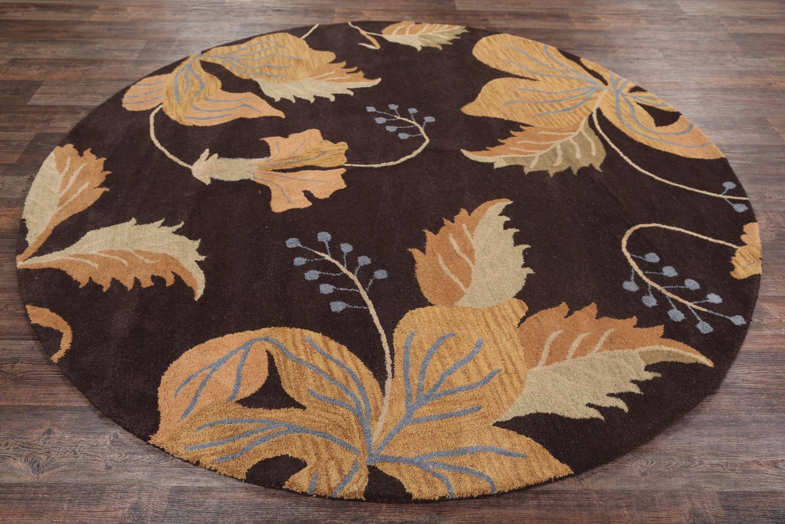 Transitional Floral Oushak Oriental 8' Round Wool Rug