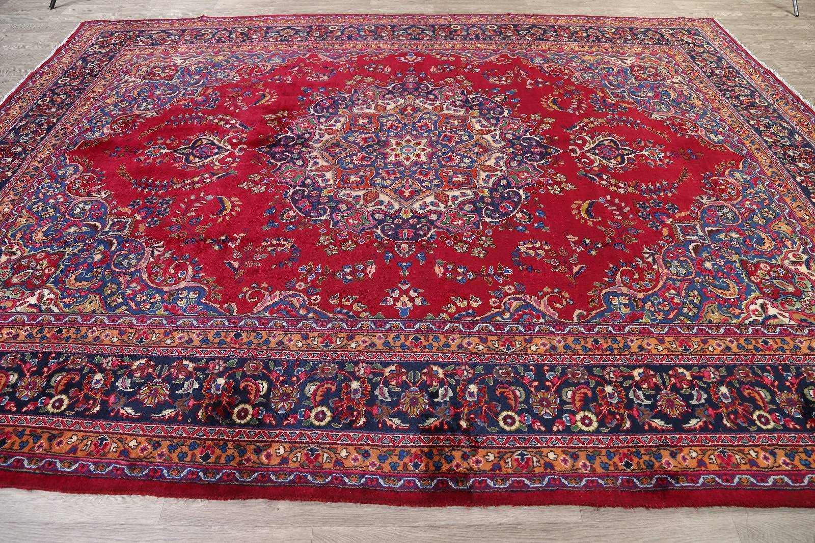 Traditional Floral Mashad Persian Area Rug 10x13