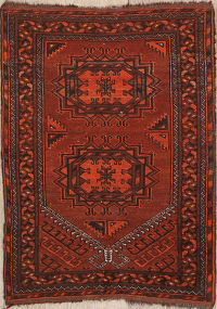 Geometric Antique Balouch Afghan Oriental Area Rug 2x3