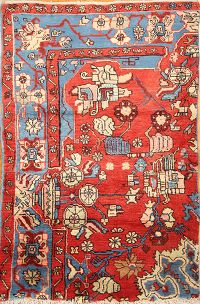 Red Geometric Nahavand Hamedan Persian Hand-Knotted 3x4 Wool Area Rug