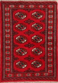 Red Geometric Tribal Balouch Bokhara Persian Wool Rug 3x5