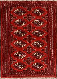 Geometric Red Balouch Bokhara Persian Wool Rug 3x5
