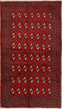 Red Geometric Balouch Bokhara Persian Wool Rug 3x6