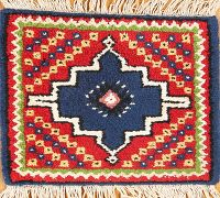 Blue Geometric Moroccan Oriental Square Rug 1x1
