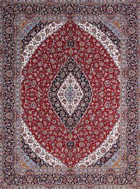 Soft Pile Red Floral Kashan Persian Area Rug Wool 10x12