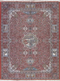 Red Pictorial Kashmar Persian Area 10x13