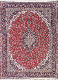 Red Floral Kashan Persian 9x13 Area Rug