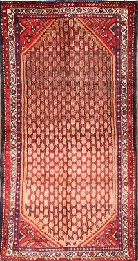 All-Over Geometric Hamedan Persian Hand-Knotted 3x7 Wool Runner Rug