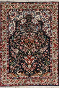 Black Floral Qum Persian Silk Rug 3x5