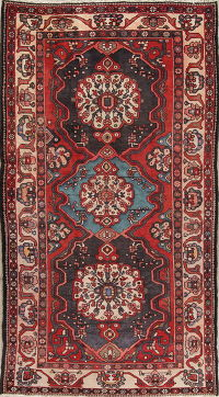 Geometric Red Bakhtiari Persian Hand-Knotted Runner Rug Wool 5x10