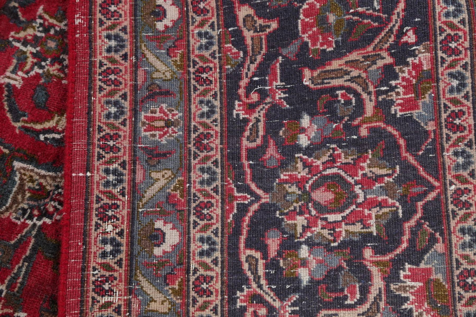 Floral Red Mashad Persian Hand-Knotted Area Rug Wool 10x13