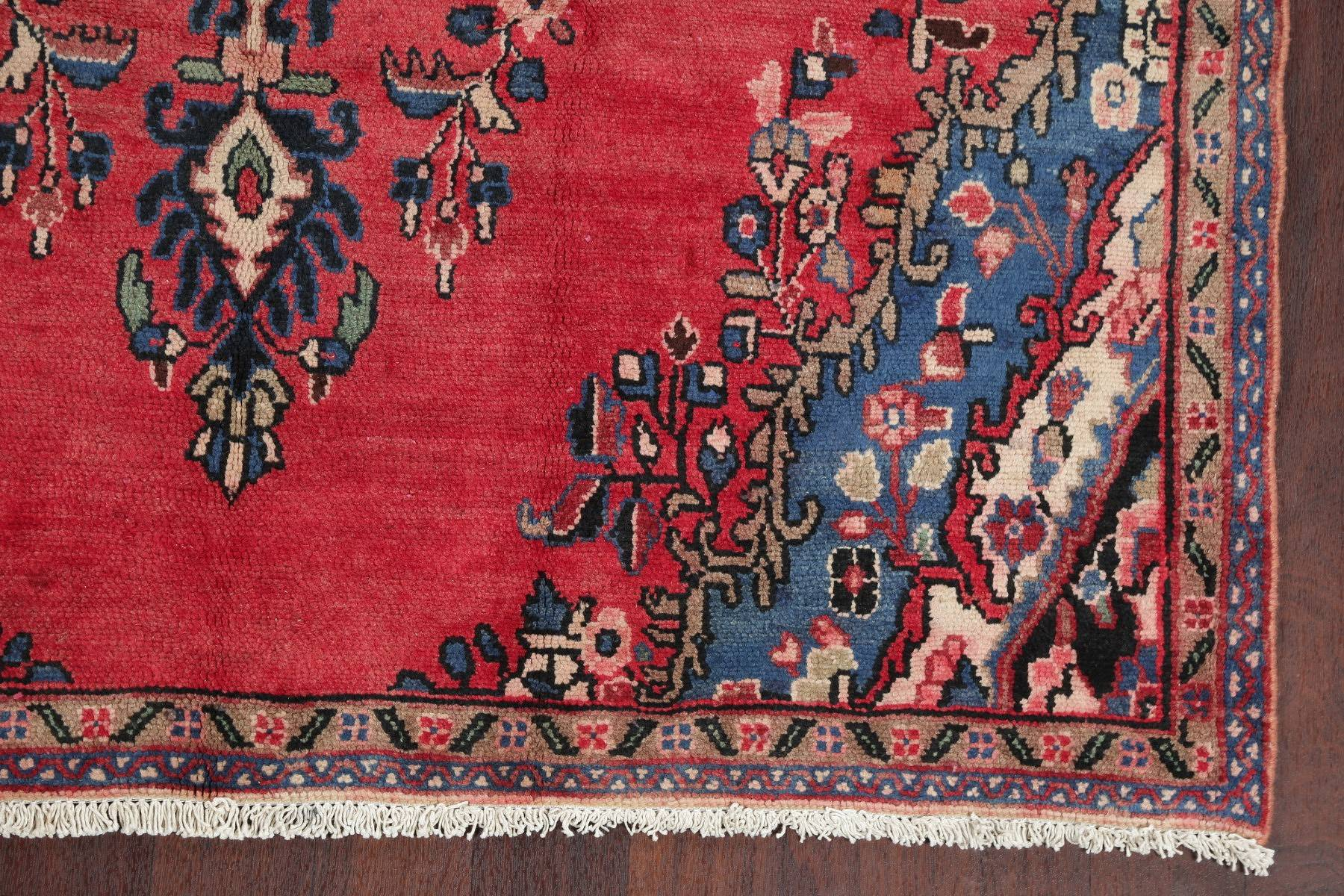 Floral Red Hamedan Persian Hand-Knotted Area Rug Wool 6x8