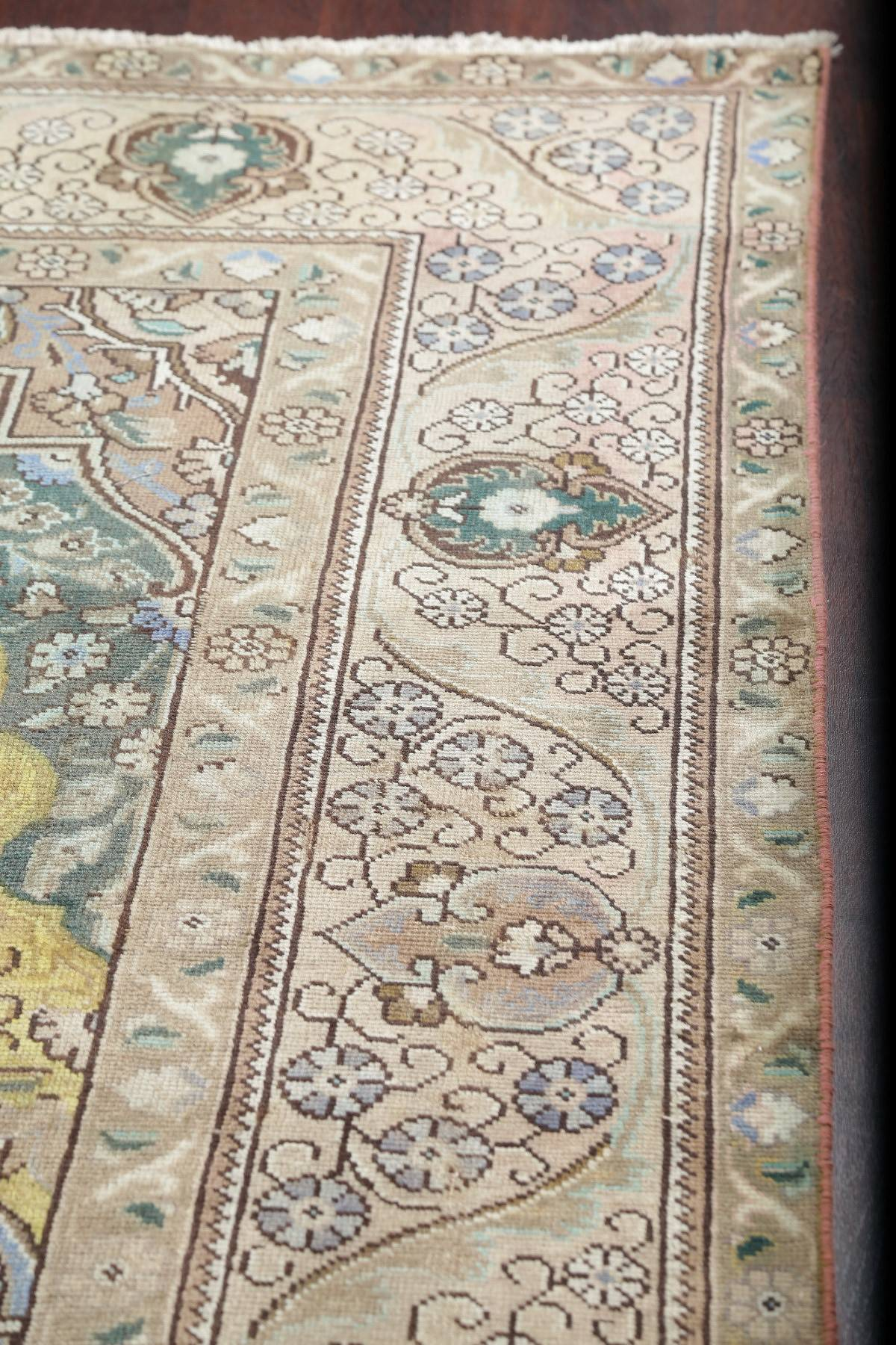 Geometric Muted Beige Tabriz Persian Hand-Knotted Area Rug Wool 10x13