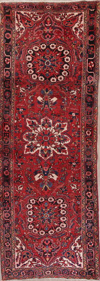 Red Geometric Heriz Persian Runner Rug 4x12