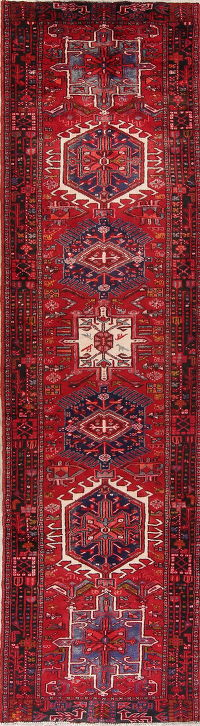 Red Geometric Gharajeh Persian Runner Rug 3x12
