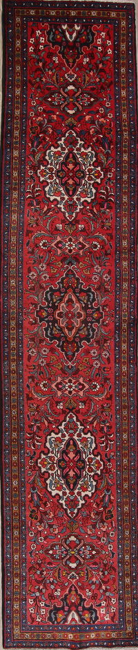 Red Geometric Heriz Persian Runner Rug 4X17