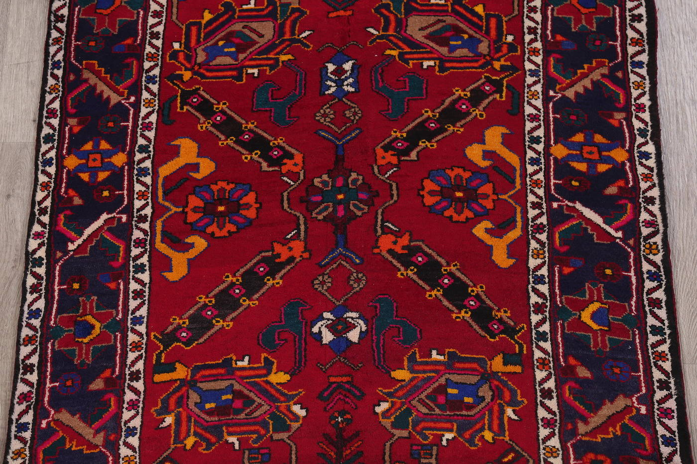 Red Floral Geometric Heriz Persian Runner Rug 4x14
