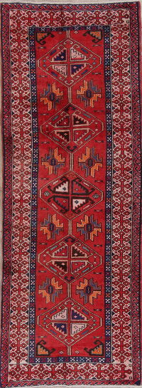 Red Geometric Goravan Persian Runner Rug 4x10