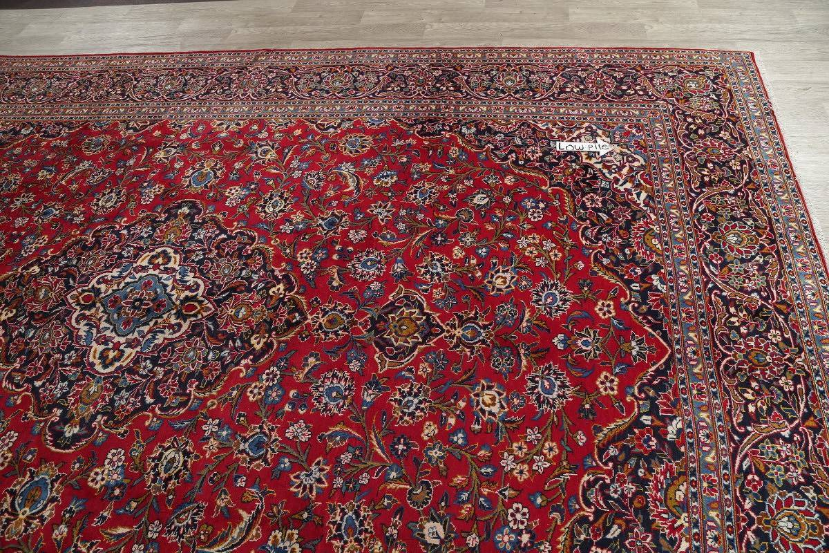Red Floral Traditional Kashan Persian Area Rug 10x14