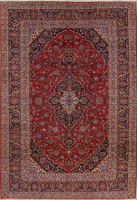 Red Floral Traditional Kashan Persian Area Rug 10x13