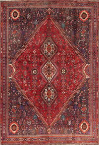 Antique Tribal Geometric Kashkoli Shiraz Persian Area Rug 8x11