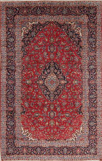 Traditional Red Floral Kashan Persian Area Rug 8x12