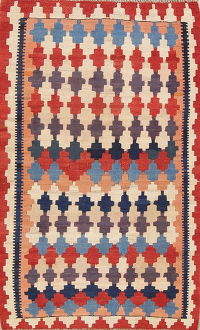 Geometric Kilim Shiraz Persian Wool Rug 4x5