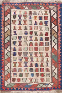 Hand-Woven Tribal Geometric Kilim Shiraz Persian Wool Rug 3x5
