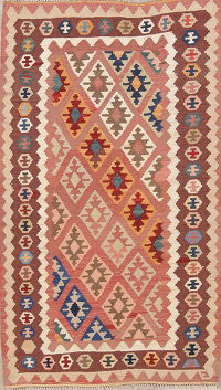 Pink Geometric Kilim Shiraz Persian Area Rug 4x7
