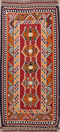 Red Geometric Kilim Shiraz Persian Runner Rug 4x9