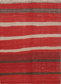 Red Stripe Kilim Balouch Persian Area Rug 5x8