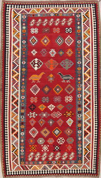 Red Animal Pictorial Geometric Kilim Shiraz Persian Runner Rug 5x9
