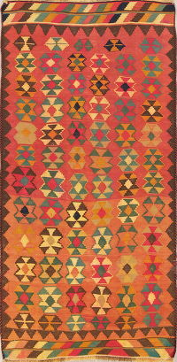 Geometric Kilim Shiraz Persian Runner Rug 4x8