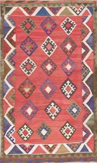 Red Geometric Kilim Shiraz Persian Area Rug 5x8