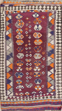 One-of-a-Kind Antique Maroon Kilim Persian Hand-Woven 5x8 Wool Area Rug
